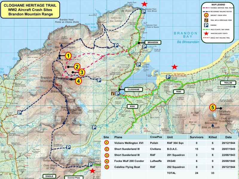 Brandon Mountain Plane Crash Map and Cloghane Heritage Trail 22.10.15
