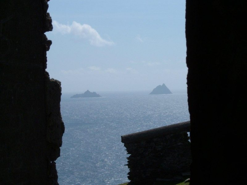 Iconic view of the Skelligs Island from inside the Bray Head Tower, Valentia Island, Co Kerry, Wild Atlantic Way, Ireland Discovery Point, Star Wars