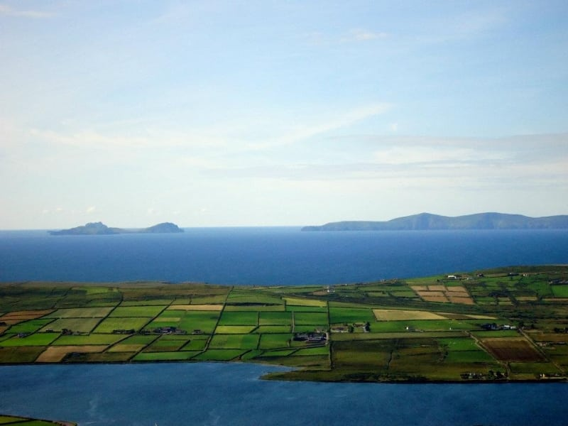 View from Coomanaspic Mountain above Portmageee Village with views of Valentia Island and Blaskets Islands, Ring Of Kerry, Wild Altantic Way,Ireland