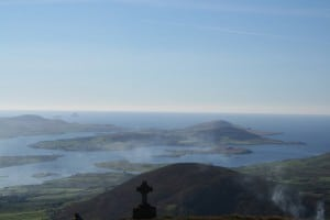 View of Valentia Island from the pilgrim mountain of Knocknatobar, Cahersiveen, Ring of Kerry, Wild Atlantic Way, Ireland