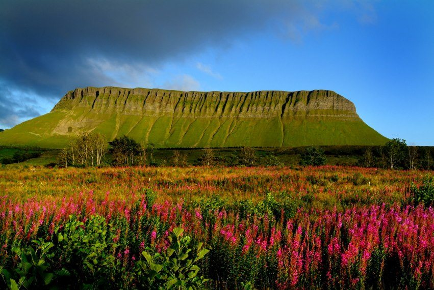 Benbulben Mountain Walking Route Map Trail in County Sligo, Lough Gill and Yeats County Scenic Drive, Wild Atlantic Way Irelands Best Walks