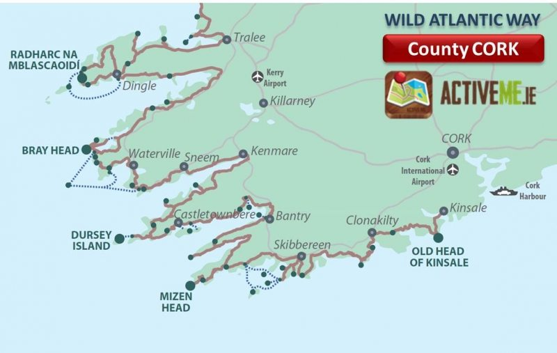 County Cork Wild Atlantic Way Route Map, Discovery Points, Ireland ActiveMe Travel Guide