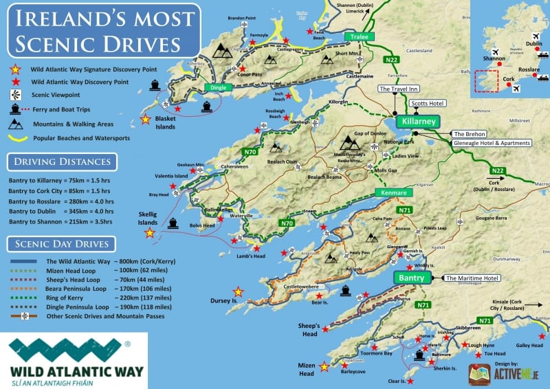 Best Scenic Drives Routes in Ireland, Wild Atlantic Way, West Cork, Maritime Hotel Bantry, Driving Map