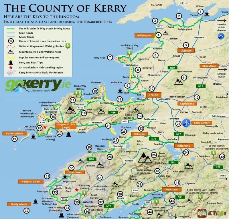 GoKerry Kerry Map and Wild Atlantic Way Route by ActiveME February 2015