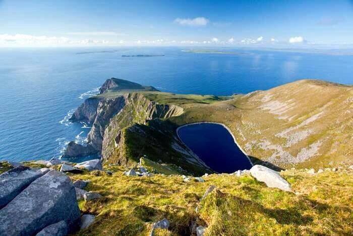 Croaghaun Cliffs and Bunnafreva Lough West Corrie Lake, Achill Island, Co Mayo, Ireland Wild Atlantic Way
