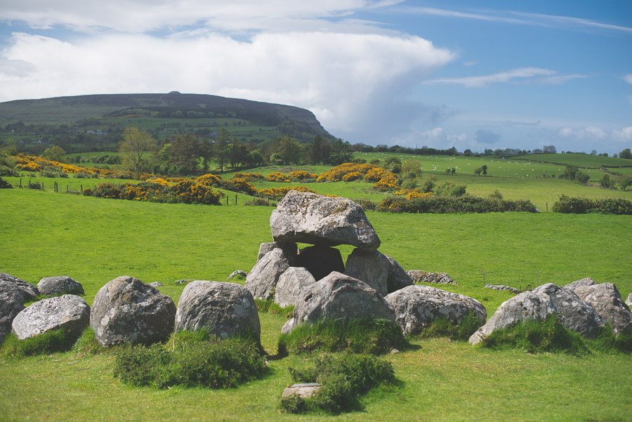 Carrowmore Megalithic Cemetery with Knocknarea in the background, Sligo Scenic Drive, Ireland Wild Atlantic Way