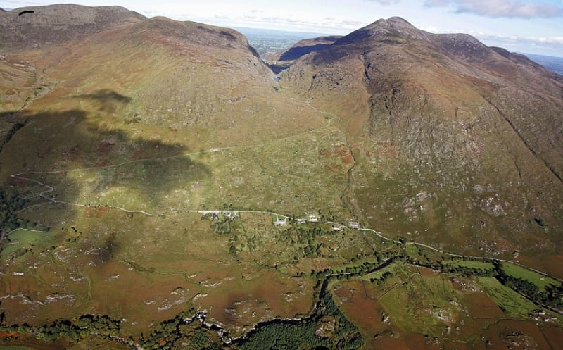 Aerial view of the Head of the Gap of Dunloe and Black Valley, Kerry, Ireland