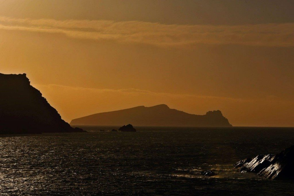 An Fear Marbh 'the Dead Man' at sunset. The Blasket Islands from Slea Head Drive by Valerie O'Sullivan