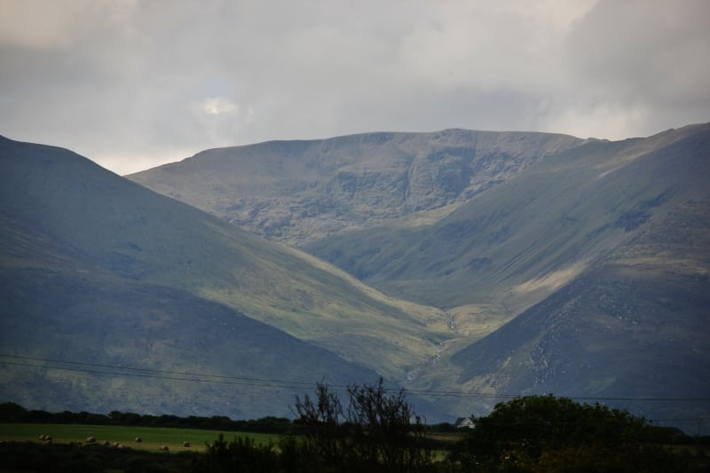 Derrymore Valley and Caherconree Mountain with the face of Cu Roi Mac Daire