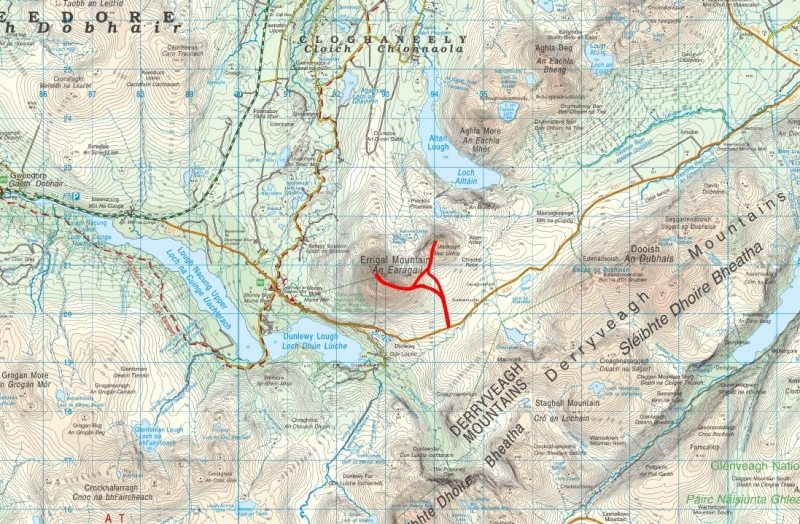 Errigal Mountain Walking Route,Trail Map and Guide, Donegal, Wild Atlantic Way, Ireland