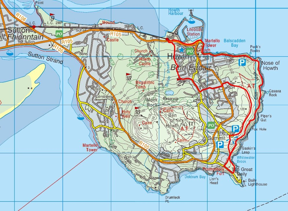 Howth Cliff Path Loop Walk Route Map, near Dublin City, Irelands Ancient East - Top Walks and Best Things to See and Do in Dublin City