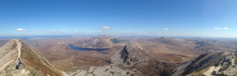 Panorama from Errigal Mountain looking north to the Seven Sisters, by Sean MacEntee