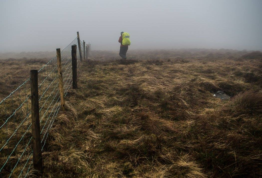 Sawel Mountain navigating during poor visibility using the fence , Sperrin Mountains, Co. Tyrone, Northern Ireland