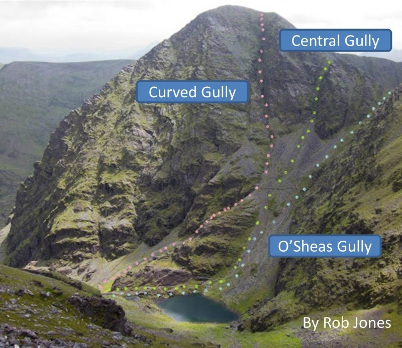 Carrauntoohil Gully Routes OSheas, Central and Curved by Rob Jones