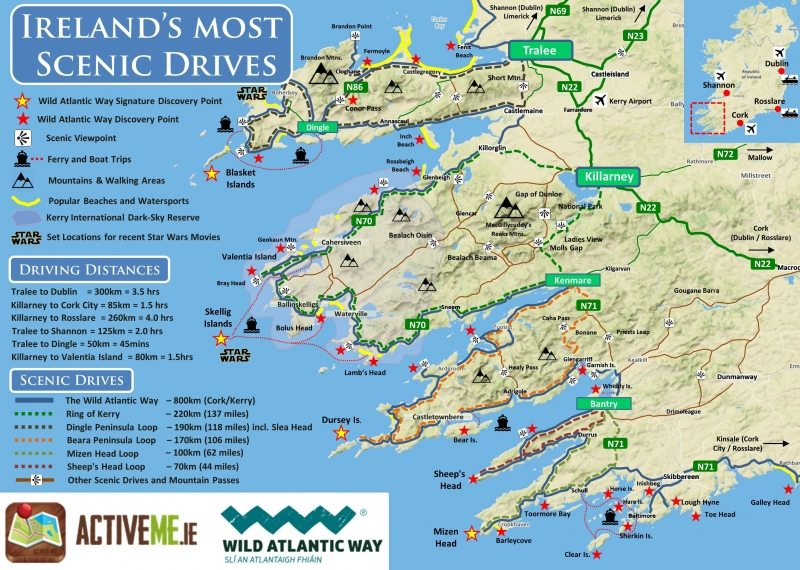 Map Of Ireland Kerry Region.Ring Of Kerry Scenic Drive Cycle Route Map Kerry Ireland