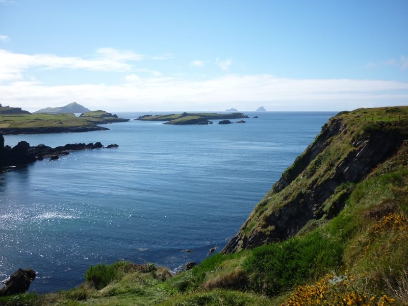 View of Skellig Islands from Valentia Island on the Skellig Ring Scenic Drive