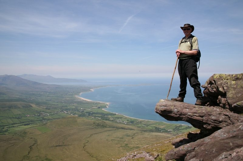 View over the Maherees,Tralee and Brandon Bay and the longest Beach in Ireland from Fionn MacChumhaills chair on Caherconree Mountain, Sliabh Mish Mtnd, Tralee, Kerry, Wild Atlantic Way