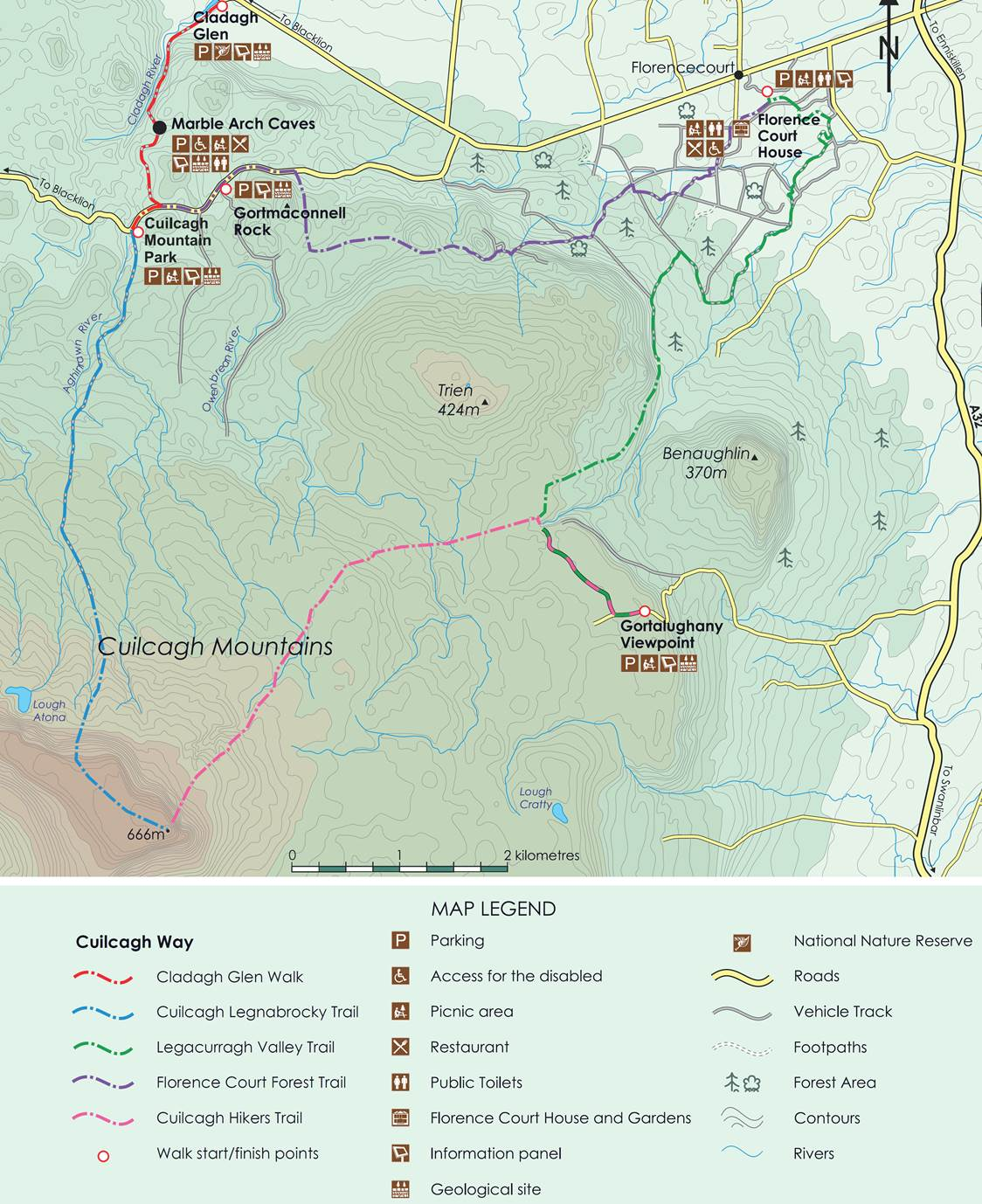 Cuilcagh Mountain Loop Walk and Legnabrocky Trail, Marble