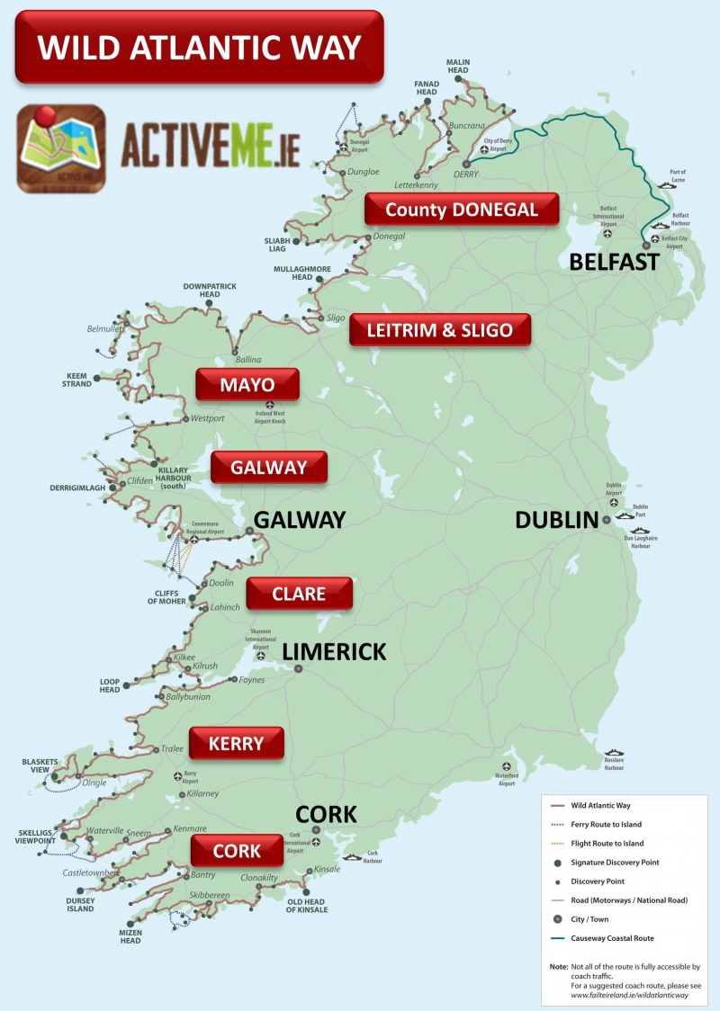 Map Of Ireland With Towns.Wild Atlantic Way Route Map Guide Ireland Activeme Ie