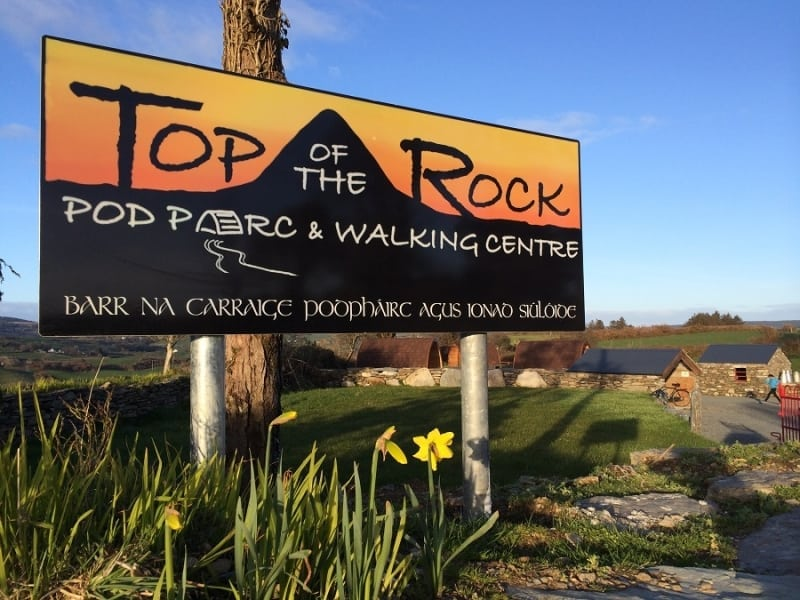 Sign for Top of the Rock Pod Pairc and Walking Centre, Drimoleague, West Cork, Ireland