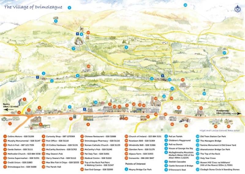 Drimoleague Walkways Travel and Tourist Map Guide Watercolour Final, West Cork, Ireland