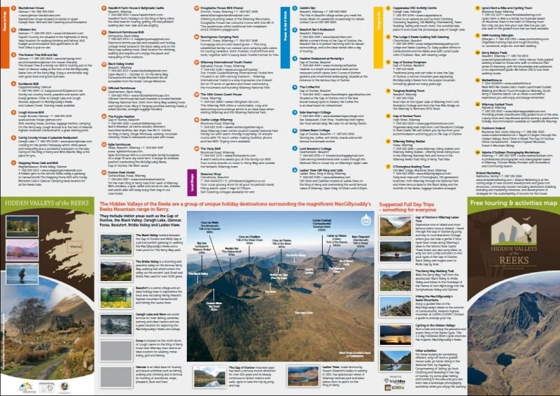 Hidden Valleys of the Reeks, Tourist Map Brochure and Guide, Co Kerry, ActiveMe