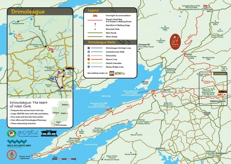 Top of the Rock Walking Tour Map, Sheeps Head and St. Finbarrs Way, Drimoleague, West Cork, Ireland FINAL