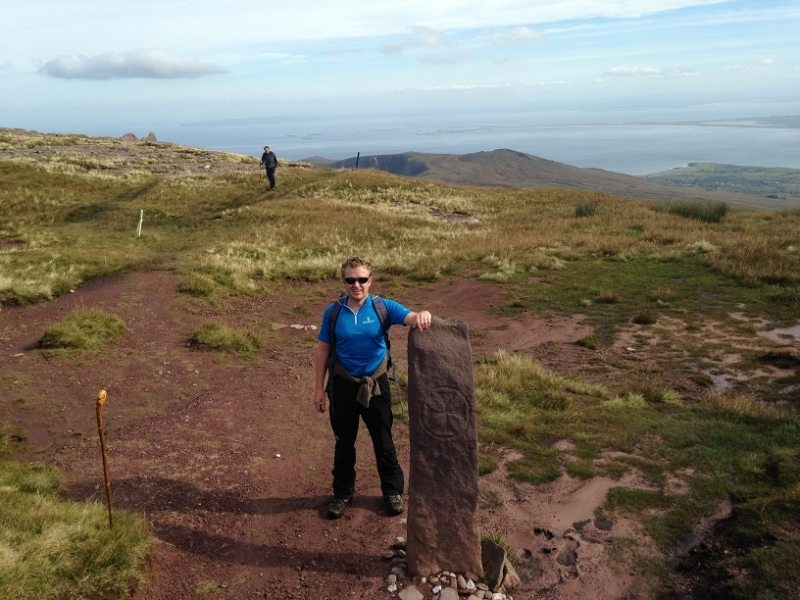 Irelands highest Ogham Stone on saddle of Mas an Tiompain, Brandon Mountains from Teer, Dingle Way Walk, Co. Kerry, Wild Atlantic Way, Ireland
