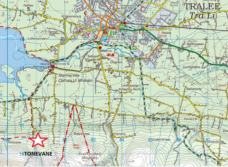 Tonevane Loop Walk Map, Kerry