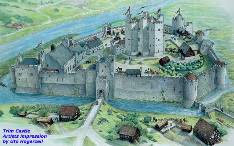 Trim Castle County Meath artists impression by Uto Hogerzeil