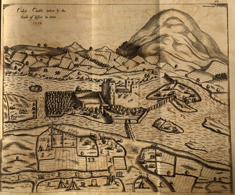 Cahir Castle 1599 Map Tipperary Irelands Ancient East pub in 1810
