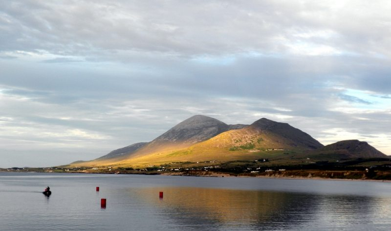 Croagh Patrick Mountain from Old Head Harbour on Clew Bay, Co Mayo