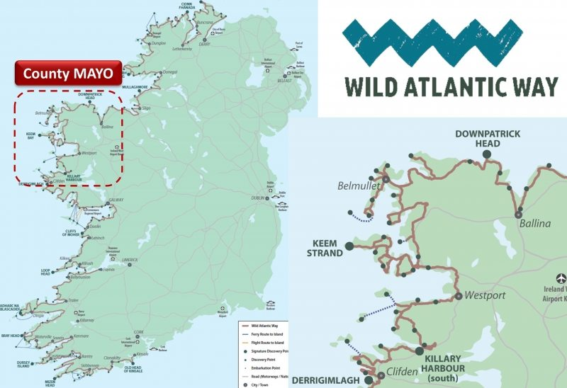 Map Of Ireland Mayo.Wild Atlantic Way Co Mayo Route Map And Guide Ireland Activeme Ie