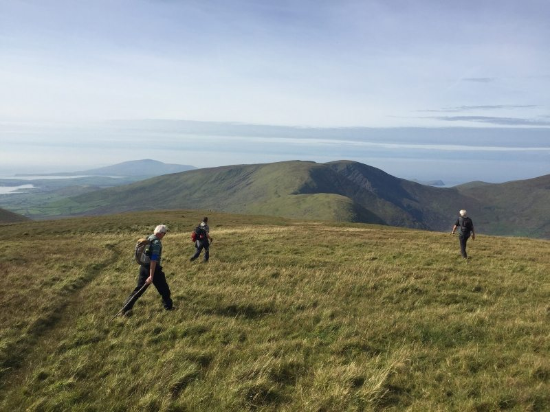 Returning from Slievanea above the Conor Pass with Dingle in the distance