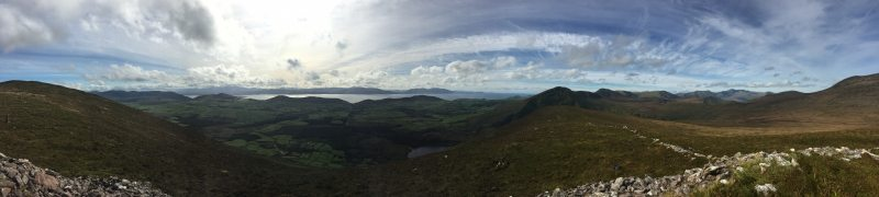 View from Cú Chulainns House over Dingle Bay, The Reeks, The Skelligs, Valentia Island and the Brandon Mountain range