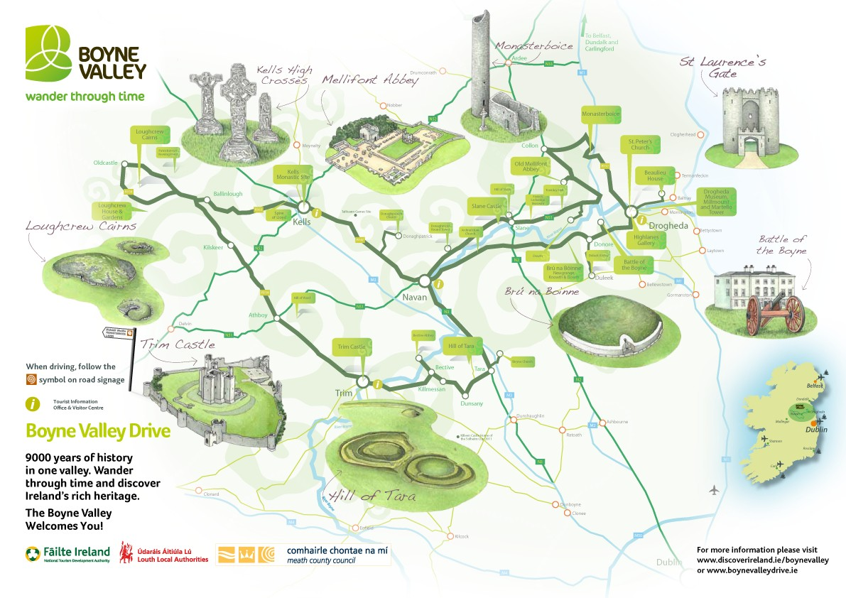 Map Of Co Meath Ireland.Boyne Valley Scenic Drive Route Map And Guide Co Meath Irelands