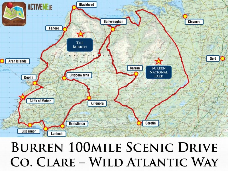 Map Of The Burren Ireland.Burren 100 Mile Scenic Loop Drive Co Clare Wild Atlantic