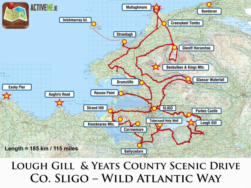 Sligo Scenic Drive, Lough Gill and Yeats County Route Map and Guide ...